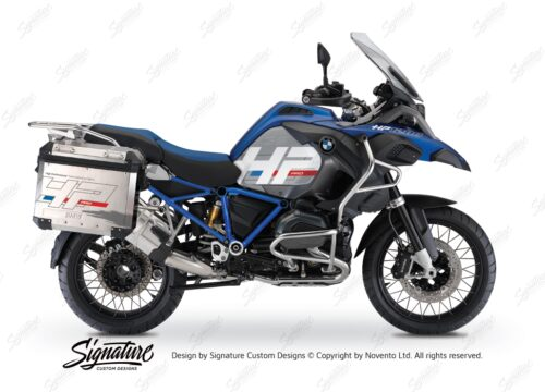 BKIT 3675 BMW R1200GS LC Adventure Racing Blue HP Edition Side Tank Fender Stickers with Full Frame Panniers Blue 01
