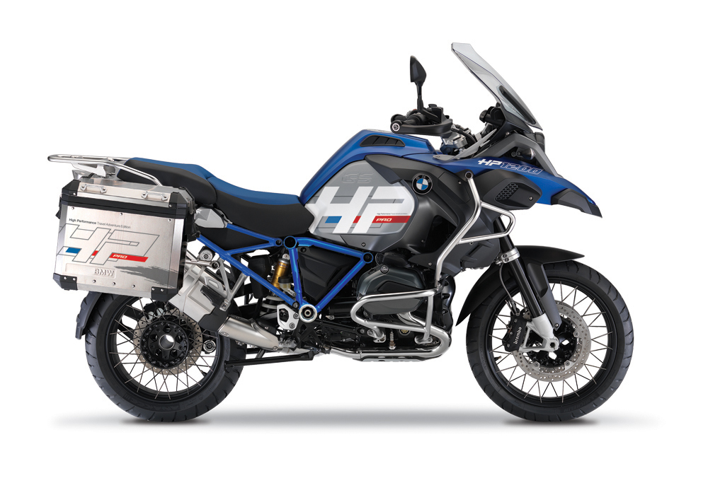 BKIT 3675 BMW R1200GS LC Adventure Racing Blue HP Edition Side Tank Fender Stickers with Full Frame Panniers