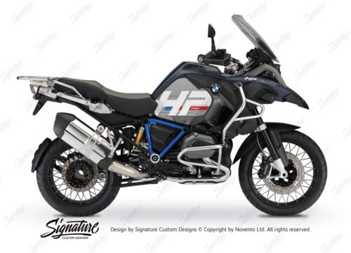 BKIT 3677 BMW R1200GS LC Adventure Ocean Blue HP Edition Side Tank Fender Stickers with Pyramid Frame Blue 01