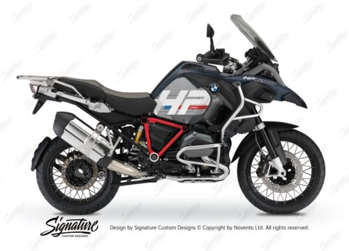 BKIT 3677 BMW R1200GS LC Adventure Ocean Blue HP Edition Side Tank Fender Stickers with Pyramid Frame Red 01