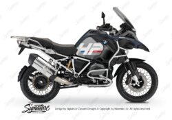 BKIT 3678 BMW R1200GS LC Adventure Ocean Blue HP Edition Side Tank Fender Stickers with Full Frame White 01