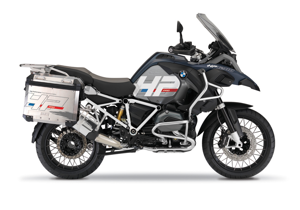 BKIT 3681 BMW R1200GS LC Adventure Ocean Blue HP Edition Side Tank Fender Stickers with Full Frame Panniers