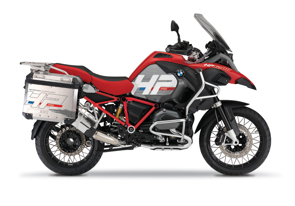 BKIT 3687 BMW R1200GS LC Adventure Racing Red HP Edition Side Tank Fender Stickers with Full Frame Panniers 1