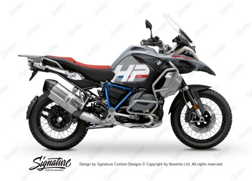 BKIT 3689 BMW R1250GS Adventure Ice Grey HP Edition Side Tank Fender Stickers with Pyramid Frame Blue 01