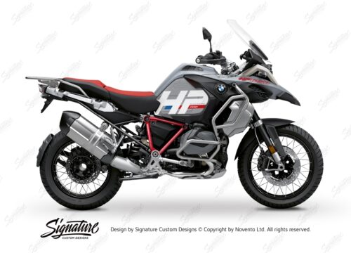 BKIT 3689 BMW R1250GS Adventure Ice Grey HP Edition Side Tank Fender Stickers with Pyramid Frame Red 01