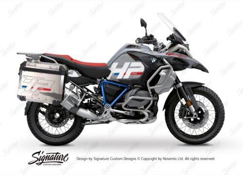 BKIT 3692 BMW R1250GS Adventure Ice Grey HP Edition Side Tank Fender Stickers with Pyramid Frame Panniers Blue 01