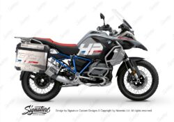 BKIT 3693 BMW R1250GS Adventure Ice Grey HP Edition Side Tank Fender Stickers with Full Frame Panniers Blue 01