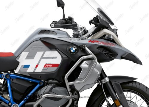 BKIT 3693 BMW R1250GS Adventure Ice Grey HP Edition Side Tank Fender Stickers with Full Frame Panniers Blue 02
