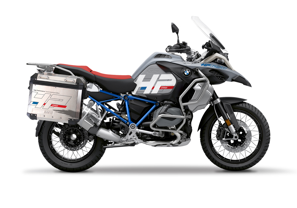 BKIT 3693 BMW R1250GS Adventure Ice Grey HP Edition Side Tank Fender Stickers with Full Frame Panniers