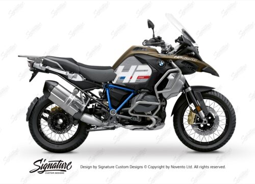 BKIT 3695 BMW R1250GS Adventure Style Exclusive HP Edition Side Tank Fender Stickers with Pyramid Frame Blue 01