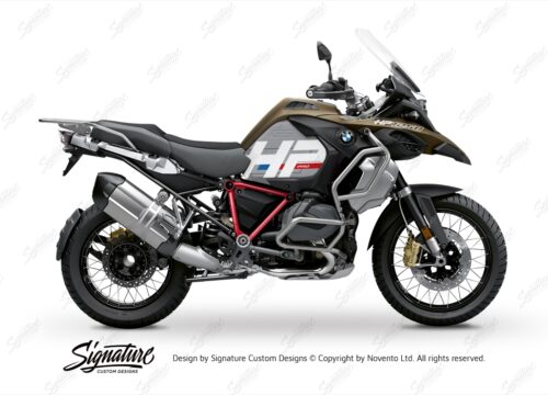 BKIT 3695 BMW R1250GS Adventure Style Exclusive HP Edition Side Tank Fender Stickers with Pyramid Frame Red 01