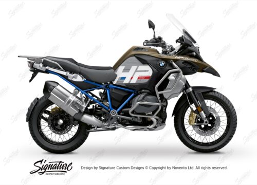 BKIT 3696 BMW R1250GS Adventure Style Exclusive HP Edition Side Tank Fender Stickers with Full Frame Blue 01