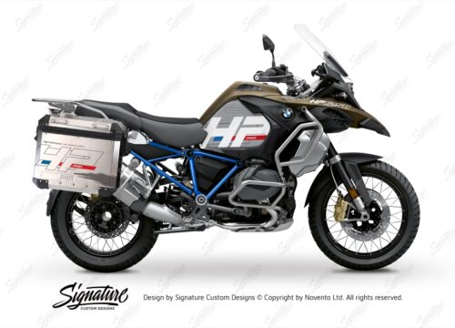 BKIT 3699 BMW R1250GS Adventure Style Exclusive HP Edition Side Tank Fender Stickers with Full Frame Panniers Blue 01