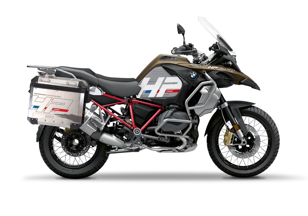 BKIT 3699 BMW R1250GS Adventure Style Exclusive Silver Tank HP Edition Side Tank Fender Stickers with Full Frame Panniers