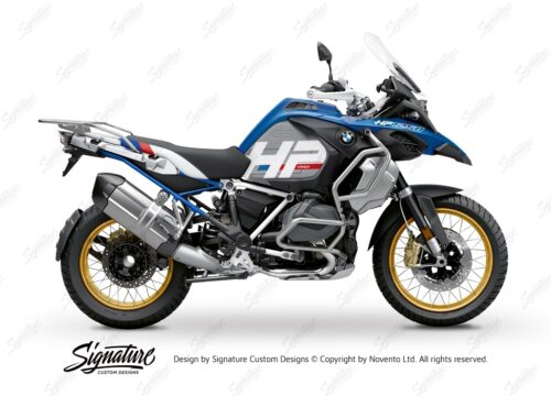 BKIT 3701 BMW R1250GS Adventure Style HP Silver Tank HP Edition Side Tank Fender Stickers with Subrame Blue 01