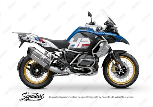 BKIT 3701 BMW R1250GS Adventure Style HP Silver Tank HP Edition Side Tank Fender Stickers with Subrame White 01
