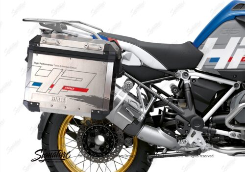 BKIT 3702 BMW R1250GS Adventure Style HP Silver Tank HP Edition Side Tank Fender Stickers with Panniers 03