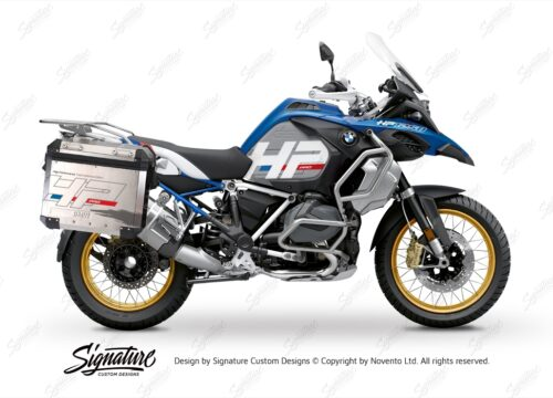 BKIT 3703 BMW R1250GS Adventure Style HP Silver Tank HP Edition Side Tank Fender Stickers with Subrame Panniers Blue 01