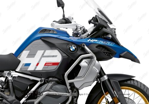 BKIT 3703 BMW R1250GS Adventure Style HP Silver Tank HP Edition Side Tank Fender Stickers with Subrame Panniers Blue 02