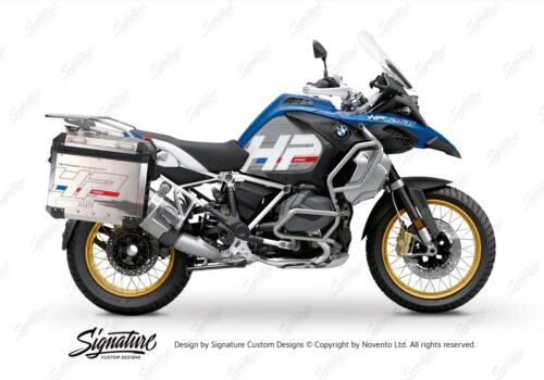 BKIT 3703 BMW R1250GS Adventure Style HP Silver Tank HP Edition Side Tank Fender Stickers with Subrame Panniers White 01
