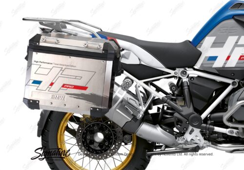 BKIT 3703 BMW R1250GS Adventure Style HP Silver Tank HP Edition Side Tank Fender Stickers with Subrame Panniers White 03