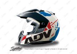 HEL 3705 BMW Enduro 2010 Helmet White Safari Red Blue Stickers Kit Left