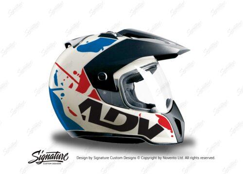 HEL 3705 BMW Enduro 2010 Helmet White Safari Red Blue Stickers Kit Right