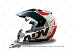 HEL 3706 BMW Enduro 2010 Helmet White Safari Red Grey Stickers Kit Left