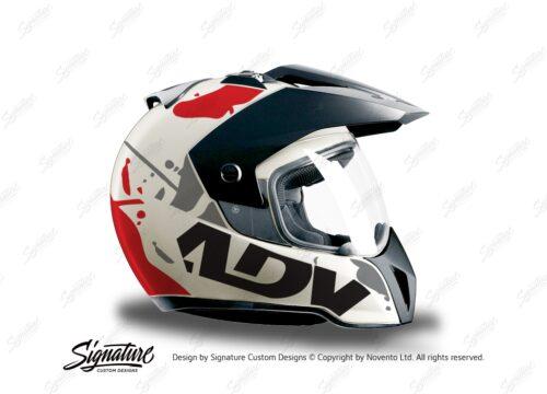 HEL 3706 BMW Enduro 2010 Helmet White Safari Red Grey Stickers Kit Right