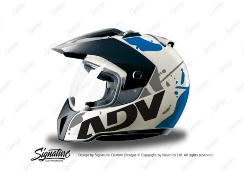 HEL 3707 BMW Enduro 2010 Helmet White Safari Blue Grey Stickers Kit Left