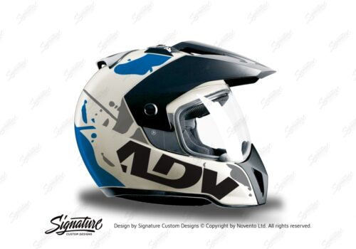 HEL 3707 BMW Enduro 2010 Helmet White Safari Blue Grey Stickers Kit Right