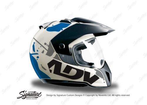 HEL 3707 BMW Enduro 2010 Helmet White Safari Blue Grey Stickers Kit Right