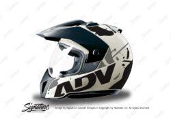 HEL 3708 BMW Enduro 2010 Helmet White Safari Black Grey Stickers Kit Left