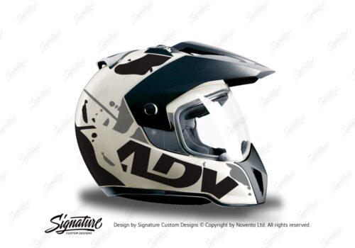 HEL 3708 BMW Enduro 2010 Helmet White Safari Black Grey Stickers Kit Right