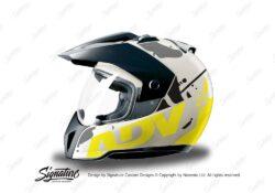 HEL 3718 BMW Enduro 2010 Helmet White Safari Fluo Yellow Grey Stickers Kit Left