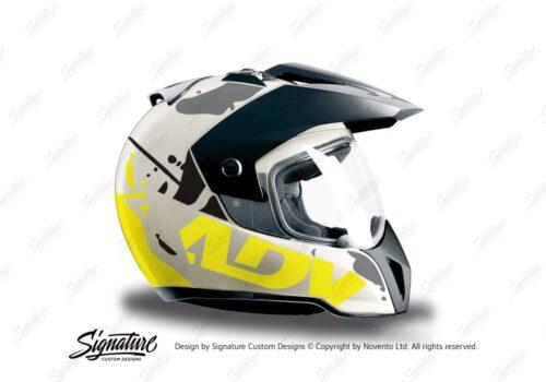HEL 3718 BMW Enduro 2010 Helmet White Safari Fluo Yellow Grey Stickers Kit Right