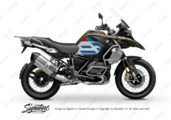 BKIT 3758 BMW R1250GS Adventure Style Exclusive Silver Tank Spirit Lines V1 Red Blue Stickers Kit 01