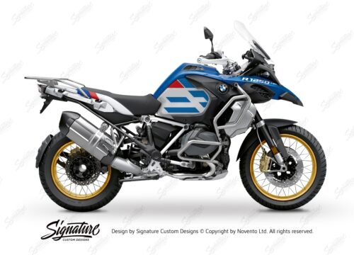 BKIT 3759 BMW R1250GS Adventure Style HP Silver Tank Spirit Lines V1 Red Blue Stickers Kit 01