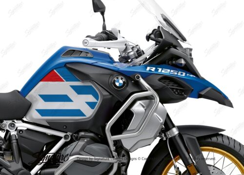 BKIT 3759 BMW R1250GS Adventure Style HP Silver Tank Spirit Lines V1 Red Blue Stickers Kit 02