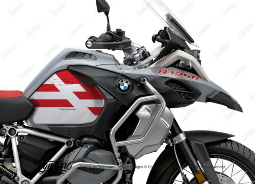 BKIT 3760 BMW R1250GS Adventure Ice Grey Spirit Lines V2 Blue Stickers Kit Red 02