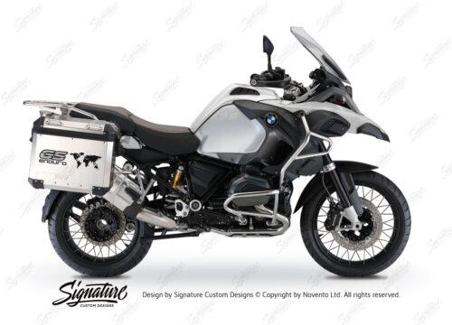 BSTI 1015 BMW GS Alluminium Panniers The World GS Enduro Stickers Silver 01