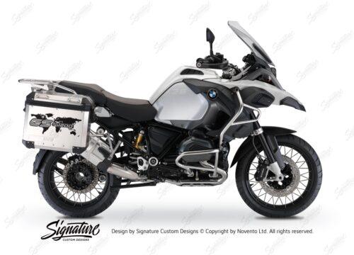 BSTI 1089 BMW GS Alluminium Panniers The World GS R1200 Stickers Silver 01