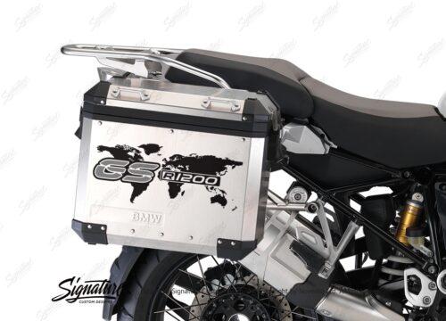 BSTI 1089 BMW GS Alluminium Panniers The World GS R1200 Stickers Silver 02