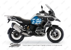 BSTI 3766 BMW R1200GS LC Adventure Alpine White Side Tank Wrap with GS Lines Stickers Cobalt Blue 01
