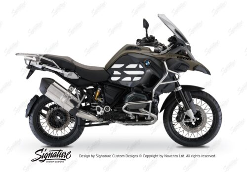 BSTI 3768 BMW R1200GS LC Adventure Olive Matte Side Tank Wrap with GS Lines Stickers Black 01
