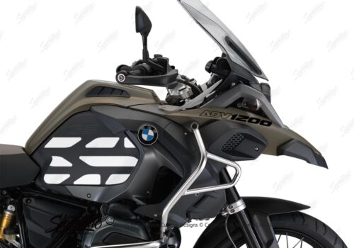 BSTI 3768 BMW R1200GS LC Adventure Olive Matte Side Tank Wrap with GS Lines Stickers Black 02