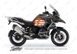 BSTI 3768 BMW R1200GS LC Adventure Olive Matte Side Tank Wrap with GS Lines Stickers Orange 01