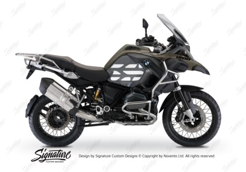 BSTI 3768 BMW R1200GS LC Adventure Olive Matte Side Tank Wrap with GS Lines Stickers Silver 01