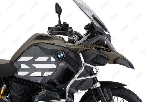 BSTI 3768 BMW R1200GS LC Adventure Olive Matte Side Tank Wrap with GS Lines Stickers Silver 02