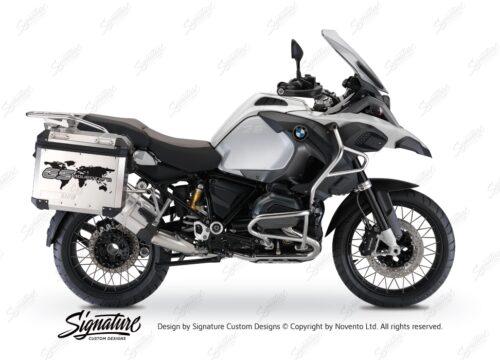 BSTI 3778 BMW GS Alluminium Panniers The World GS Adventure Stickers Silver 01